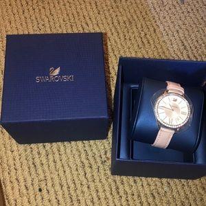 Swarovski pink leather watch
